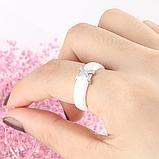 Керамическое белое женское кольцо с кристаллами код 1370, фото 5
