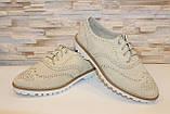 Туфли женские бежевые на шнурках Т013, фото 9
