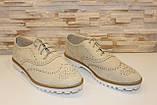 Туфли женские бежевые на шнурках Т013, фото 10