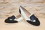 Туфли лоферы женские белые с черным Т1047, фото 3