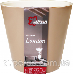 Горшок для цветов London 330 мм/16 л на колесиках Молочный шоколад