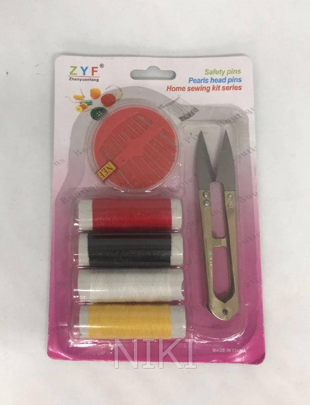 Швейный набор (4 нитки, иголки, ножнички)