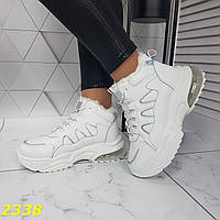 Зимние кроссовки белые на амортизаторах компенсаторах, фото 1