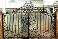"""Ажурные распашные кованые ворота с поликарбонатом """"премиум класс"""""""