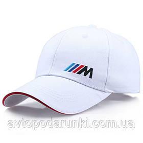 Кепка BMW M motorsport белая, бейсболка с лотипом  авто БМВ М