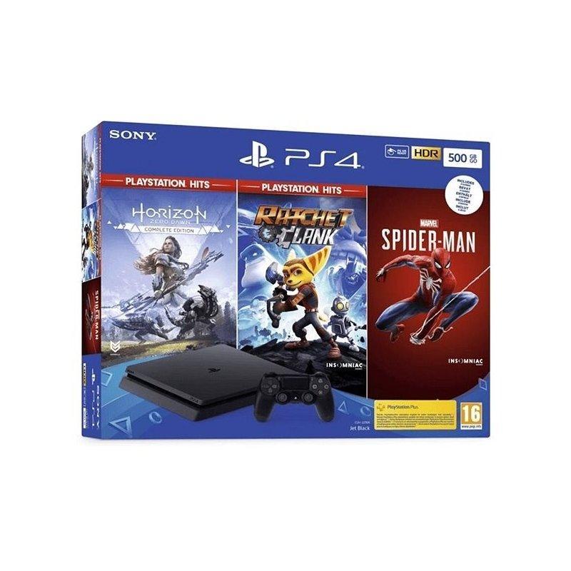 Sony PlayStation 4 Slim 500Gb (PS4 Slim) Black: Horizon Zero Dawn+Ratchet  Clank+Spiderman