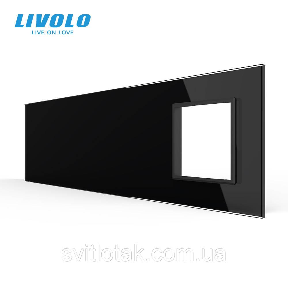 Сенсорна панель вимикача Livolo 3 канали і розетку (1-2-2-0) чорний скло (VL-C7-C1/C2/C2/SR-12)
