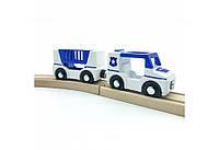 Набор Полиция с автоприцепом для деревянной железной дороги PlayTive Hape Brio Ikea Ecotoys Германия
