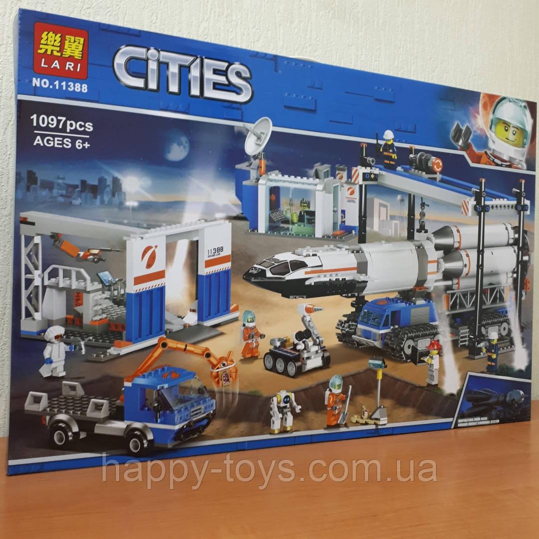 Конструктор Lari Cities 11388 Площадка для сборки и транспорт для перевозки ракеты 1097 деталей