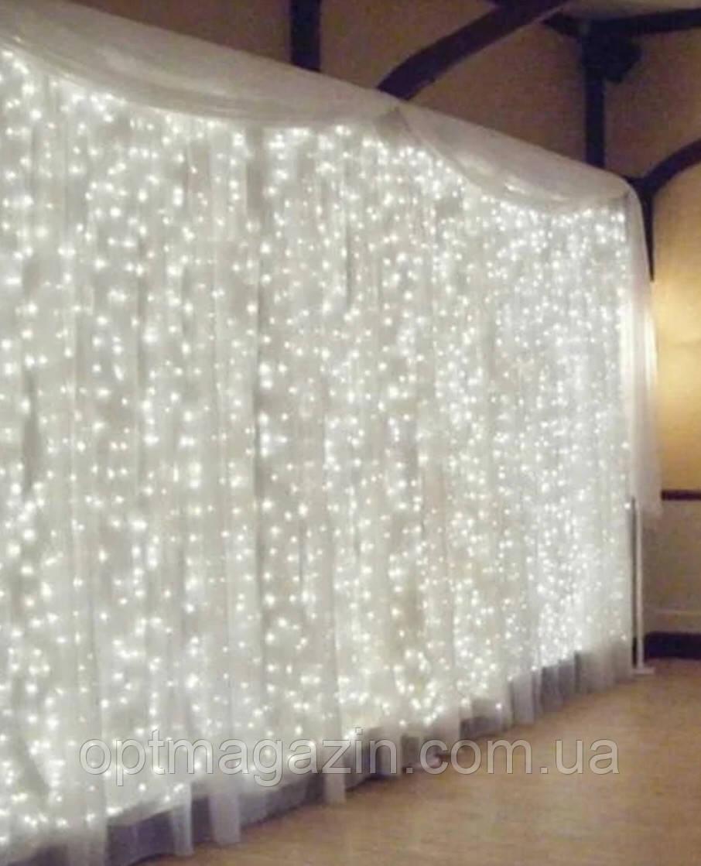 Гирлянда штора-водопад,прозрачный шнур, 3х3 м, 320 LED, белая, с переходником к-во нитей 10
