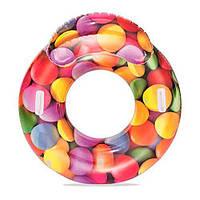 Яркий надувной круг для плавания со спинкой Bestway 118х117 см
