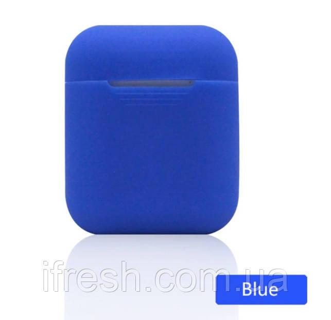 Чехол силиконовый для наушников Apple Airpods, силикон, разные цвета Синий