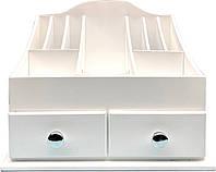 Настольный органайзер для косметики с двумя ящиками 39,5х26х30 см белый