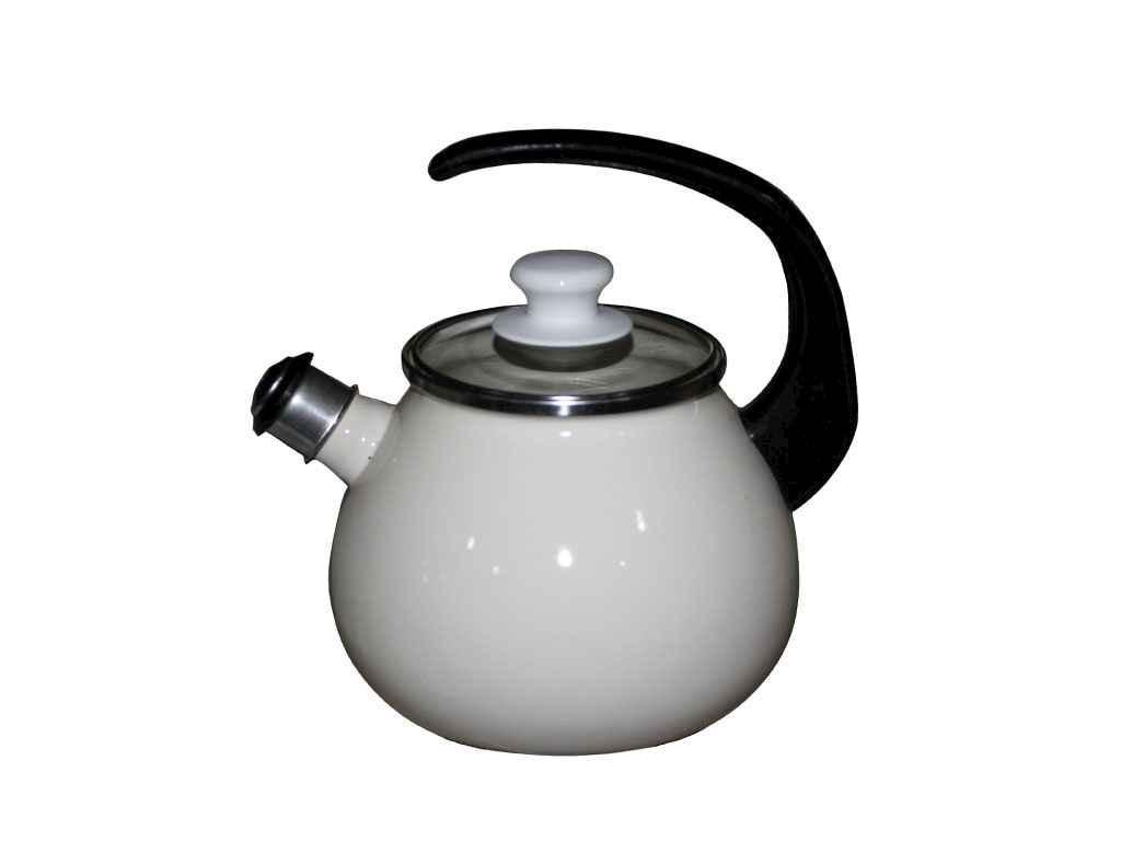 Чайник эмалированный со стеклянной крышкой Idilia 2,5 л Молочный (I62711/1)
