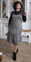 Женский комплект,платье и гольф, ткань вельвет и масло, размеры 48,50,52,54,(2099) темная клетка,сукня