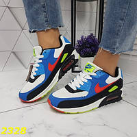 Женские кроссовки в стиле Nike air max найк аир макс белые с черным и синим