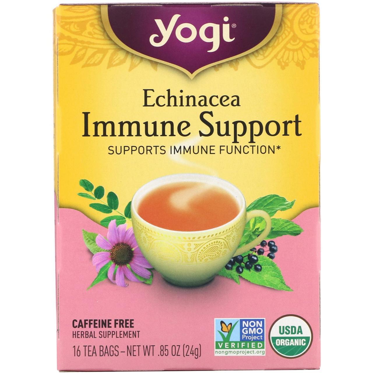 Echinacea Immune Support, без кофеина, 16 чайных пакетиков, 24 г, Yogi Tea