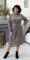 Женское стильное платье , ткань вельвет, размеры 50,52,54,56, (2101) темная клетка,сукня