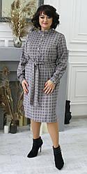 Женское стильное платье , ткань вельвет, размеры 50,52,54,56, (2101) светлая клетка,сукня