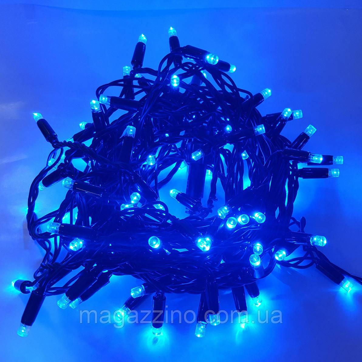Гирлянда нить светодиодная 300 LED, Голубая, черный провод, 14м.
