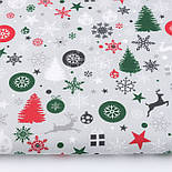 """Стандартний клапоть тканини 40*40 см """"Ялинкові кульки, сніжинки і зірки"""", фон - сірий, фото 2"""