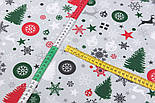 """Стандартний клапоть тканини 40*40 см """"Ялинкові кульки, сніжинки і зірки"""", фон - сірий, фото 4"""