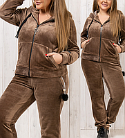 Велюровый батальный зимний теплый спортивный женский костюм пр-во Турция № 8887 бежевый