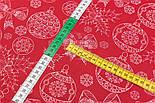 """Стандартний клапоть тканини 40*40 см """"Білі контури ялинкових іграшок"""" на червоному, фото 4"""