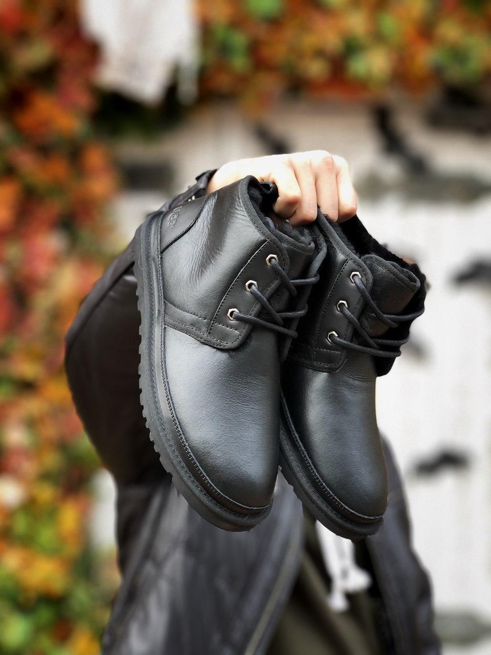 Ботинки мужские Ugg зимние черного цвета. Стильные мужские теплые Угги кожаные черные.
