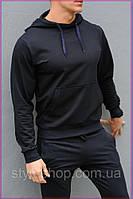Темно-синяя худи унисекс с капюшоном - весна-осень. Мужская, женская худи. Спортивная кофта, спортивные кофты