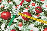 """Стандартний клапоть тканини 40*40 см """"Червоні іграшки та ялинкові гілочки"""", фото 4"""
