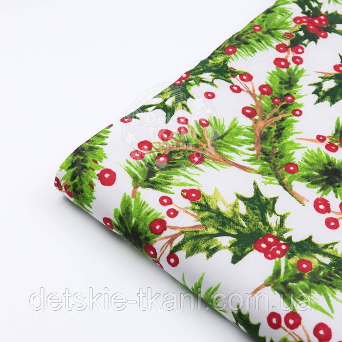 """Стандартный лоскут ткани 40*40 см """"Остролист с красными ягодами"""""""