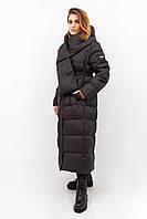Куртка женская зимняя Clasna. Черный цвет. Удлиненная модель