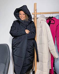 Модный женский пуховик-одеяло на запах оверсайз 42-50 р