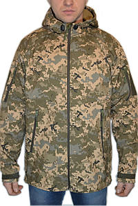 Куртка з капюшоном в пікселі ММ14 з матеріалу Софтшелл (Soft Shell 5000H)