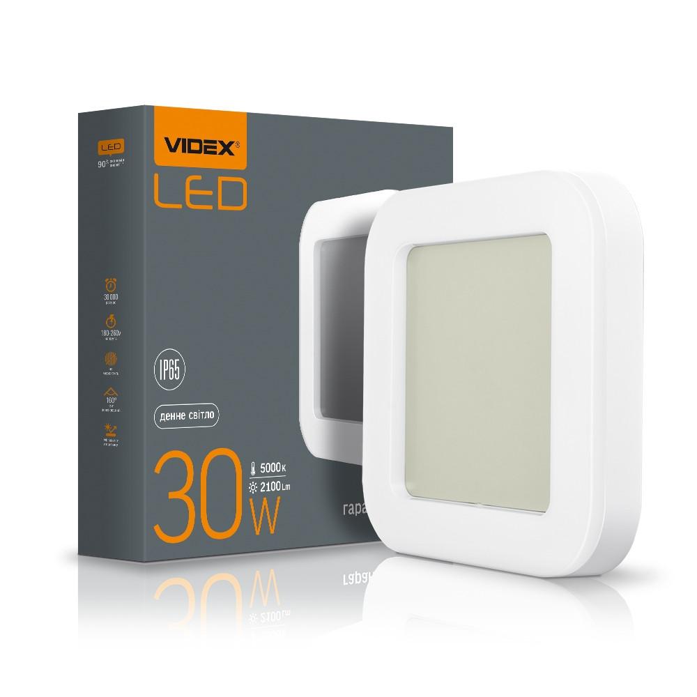 Светодиодный светильник ЖКХ VIDEX VL-BHFS-305 30w IP65 накладной квадрат
