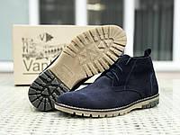 Чоловічі замшеві туфлі Vankristi темно сині, фото 1