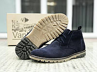 Мужские замшевые туфли Vankristi тёмно синие, фото 1