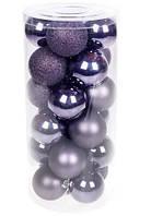 Пластикові ялинкові новорічні кулі 6 см, набір 24 шт, фото 1
