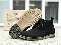 Чоловічі замшеві туфлі чорні Vankristi, фото 1