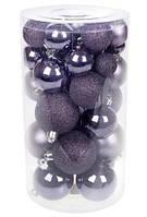 Ялинкові кулі (пластик) набір 40 шт, мікс розмірів і фактур