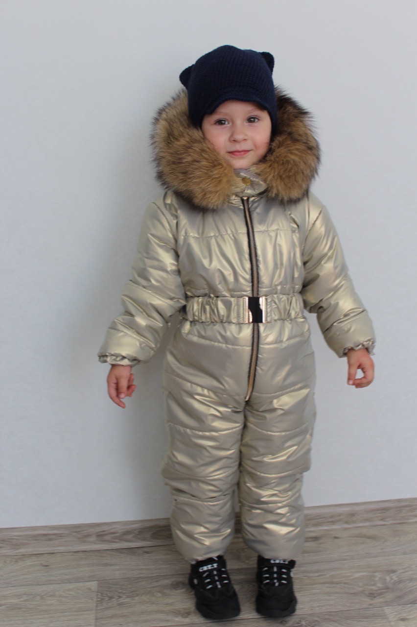 Утеплений осінньо-зимовий дитячий комбінезон на синтепоні з капюшоном з опушкою, плащівка металік, для дівчинки