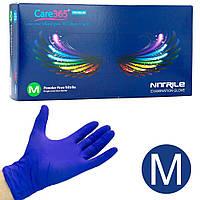 Перчатки нитриловые одноразовые Care 365, 100 шт M, Синие