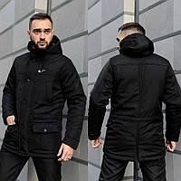 Парка мужская зимняя на флисе, теплая куртка с мехом, черная