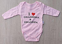 Бодик детский, findic 62-86 см, интерлок, I love grandpa, розовый