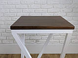 Белый барный стул барный в стиле LOFT из белого металла и натурального дерева, фото 7
