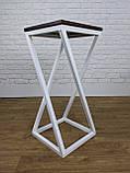 Белый барный стул барный в стиле LOFT из белого металла и натурального дерева, фото 2