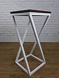 Белый барный стул барный в стиле LOFT из белого металла и натурального дерева, фото 4