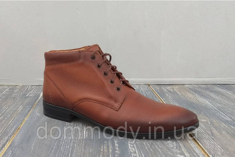 Ботинки мужские из кожи Pitt brown зимние