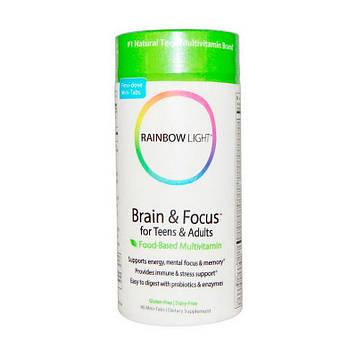 Поддержка нервной системы, мозга и памяти Rainbow Light Brain & Focus for Teens & Adults (90 mini-tabs)